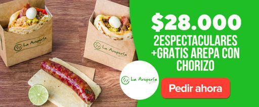 La Arepería: 2 Espectaculares+Gratis Arepa con chorizo