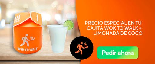 Wok To Walk: Precio Especial en tu cajita wok to walk + limonada de coco