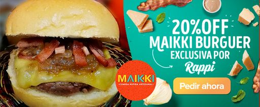 exclusiva maikki burger en combo solo por RAPPI