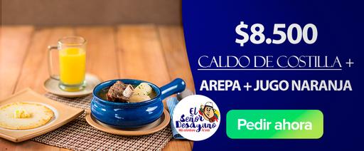 Caldo + jugo + arepa
