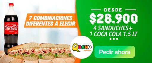 4 Sanduches + 1 Coca Cola 1.5 lt