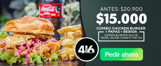 Combo Chicken Burger + papas + bebida