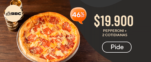 46% off pepperoni + 2 cotidianas.