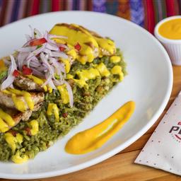 Arroz con Pollo y Salsa Huancaína