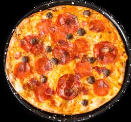 Pizza Peperoni Tocineta, Hamburguesitas y Chorizo Español🍕
