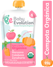 Compota Orgánica Baby Evolution Manzana Calabaza Zan Sin Azúcar