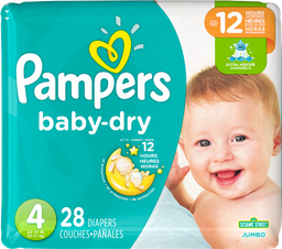 Pampers Baby-Dry Pañales Desechables Talla 4 28 Unidades