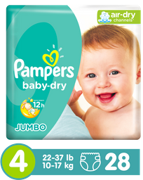 Pañales Pampers Baby-Dry Talla 4 28 Unidades