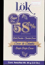 Chocolate Lok Cacao Dark 58 Sf 85G