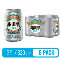 Cerveza light lata sixpack Andina 330 mL