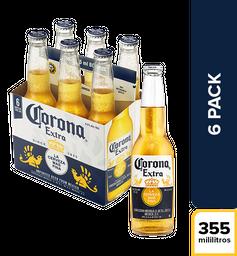 Cerveza Corona Extra - Botella 355ml x6