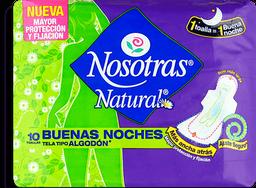 Toallas Higiénicas Nosotras Natural Buenas Noches Tipo Tela x10U