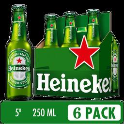 Cerveza Heineken Six Pack - Cerveza Premium 6 botellas de 250 ml