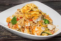 Wok de arroz integral con pollo