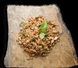 Arroz frito de albahaca