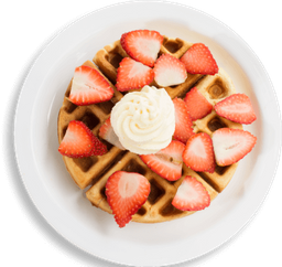 Strawberries and cream waffle