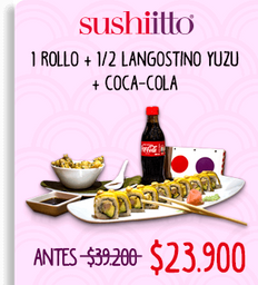 🍣1 rollo + 1/2 langostino yuzu + Coca-Cola