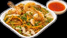 Arroz chino pollo y langostino