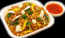 Khao pad gung vegetales