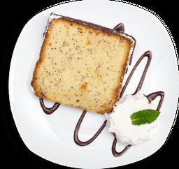 🍰Torta de amapola con helado de vainilla