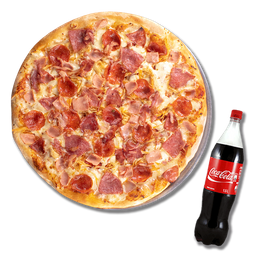 Pizza Extralarge y Gaseosa