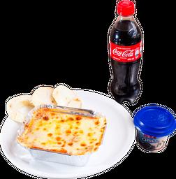 Lasagna + Coca-Cola + Helado Popsy