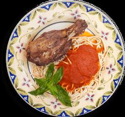 Stinco (codillo de  cerdo) con Spaghetti