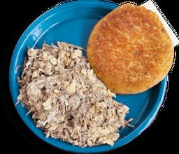 Arepa Chocla + Huevos con Desmechada