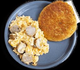 Arepa Chocla con Huevos con Chorizo