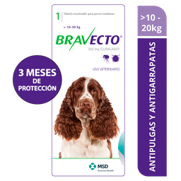 Bravecto 10 a 20 kg - 500mg x 1 tableta