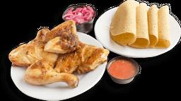 Medio Pollo Brujo Tortilla
