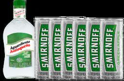 1 Antioqueño verde 750ml + 6 smirnoff ice apple 250ml
