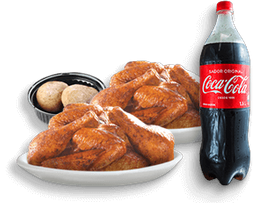 🍗2 Pollos kokoriko asados+papa salada y Coca-Cola Original 1.5