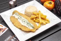 Filete de pescado en salsa al ajillo