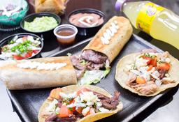 1 Burrito + 2 Tacos mixtos + Botanas + 1 Gaseosa + 1 Postre