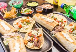 2 Burritos + 4 Tacos mixtos + Botanas + 2 Gaseosa + 2 Postre