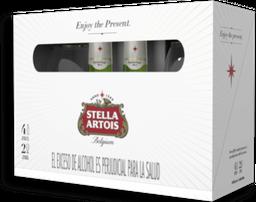 Stella Artois x 4 Cervezas 330ml + 2 Copas Caliz