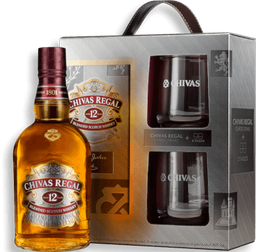 Whisky Chivas Regal 12 años 750 ml + 2 vasos