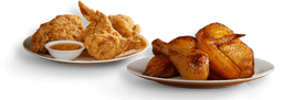 🍗Medio Pollo Asado + Medio  Pollo Apanado