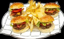 Mini Burgers x4 con Queso y Tocineta