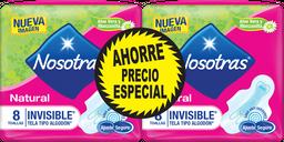 Nosotras Toallas Hig Natural Invisible Tela 2paq
