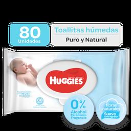 Toallitas Huggies Puro Y Natural Sin Fragancia, 80Uds