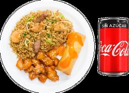 🍚 Arroz Mixto + Orange Chicken + Coca-Cola