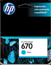 Cartucho de tinta HP 670 Cian Original CZ114AL.