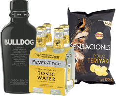Ginebra Bulldog 750ml + Fever Tree Tonic Water + Papas Teriyaki