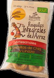 Rosquita integral de arroz Naturela. 40 gr.