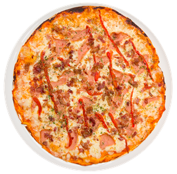 Pizza Jamón y Pimientos Asados