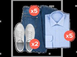 5 Jeans + 5 Camisetas + 2 pares tennis
