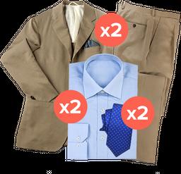 2 trajes (2 piezas) + 2 camisas + 2 corbatas