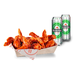 🍗Promo 10 Piezas de Alitas de Pollo + 2 Heineken